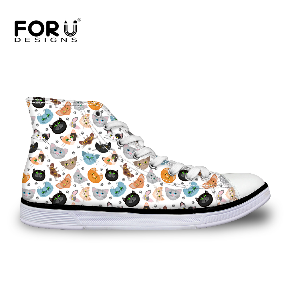 Forudesigns Cute Cat Printing High Top Shoes For Women -8668