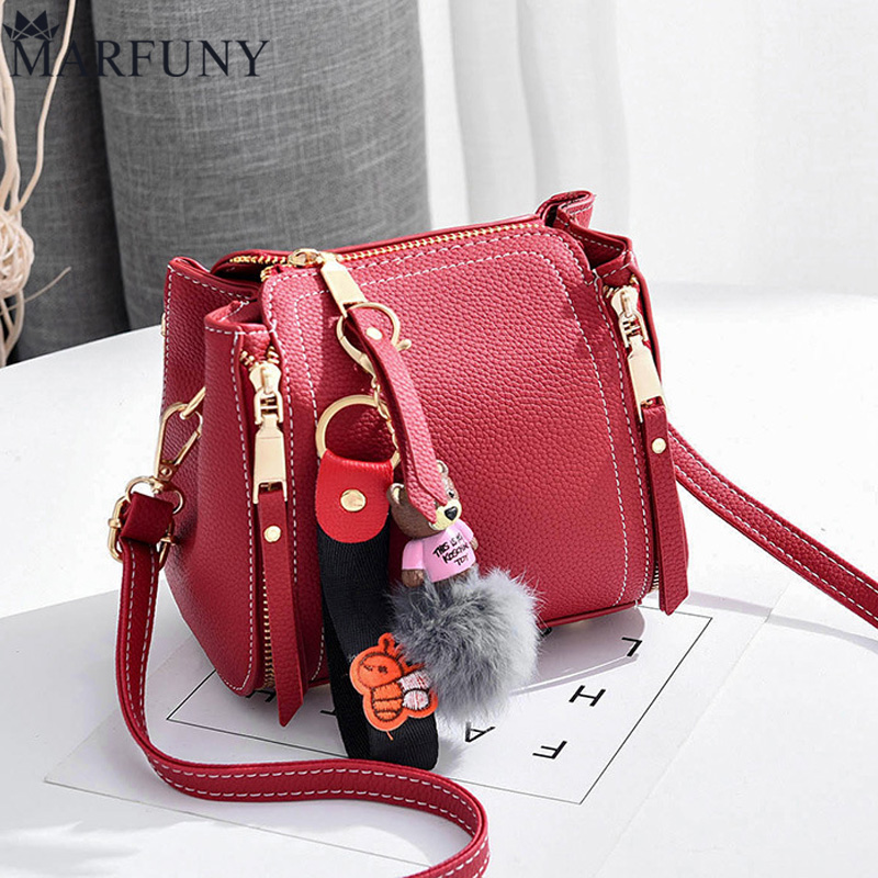 MARFUNY Brand Bucket Crossbody Bags For Women Bag 2018 Pu Leather Bags Handbags Female Shoulder Bag With Cute Bear Fashion Sac cute pencil shape and pu leather design crossbody bag for women