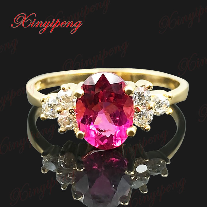 18 k yellow gold with 100% natural tourmaline ring female 1 carat fine jewelry contracte ...