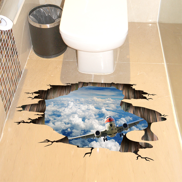 [SHIJUEHEZI] Blue Sky Airplane 3D Wall Sticker Home Decor Living Room  Bedroom Floor Decoration