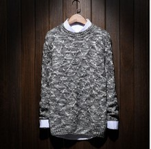 Hot Japanese code male color line thick line Leisure Sweater fat diamond winter tide