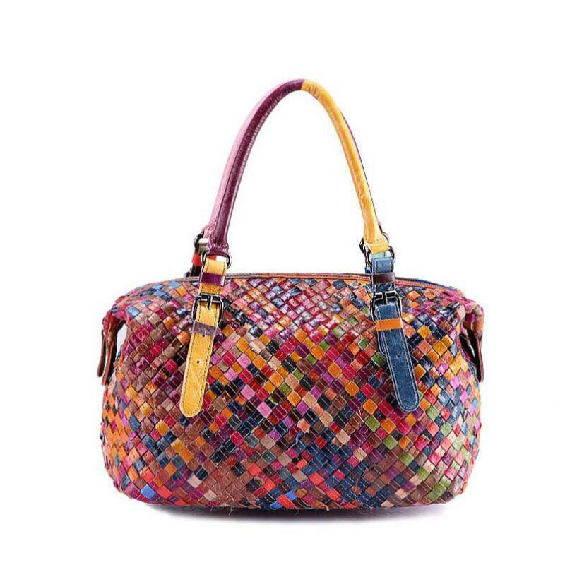 Women Handmade Bags Handbag Colorful Patchwork Genuine Leather Woven Bag Knitted Real Tote In Top Handle From Luggage On