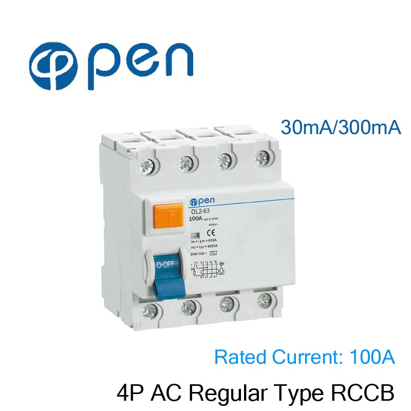 RCCB RCBO OL2-100 AC Residual Current Circuit Breaker 100A 30mA/300mA for Overload and Short Circuit Protection idpna vigi dpnl rcbo 6a 32a 25a 20a 16a 10a 18mm 230v 30ma residual current circuit breaker leakage protection mcb a9d91620