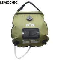 LEMOCHIC Summer 20L Outdoor Camping Hiking Self Driving Tour Solar Heating With Thermometer Folding Shower Bag