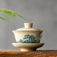 Китайский чайный сервиз Turee Gaiwan, винтажный, ручная роспись, керамический чайный сервиз, ручная роспись, фарфоровый чайный набор кунг-фу, чаша