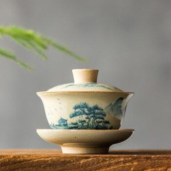 Китайский чайный набор Turee Gaiwan, винтажный керамический чайный набор с ручной росписью, фарфоровый чайный набор кунг-фу