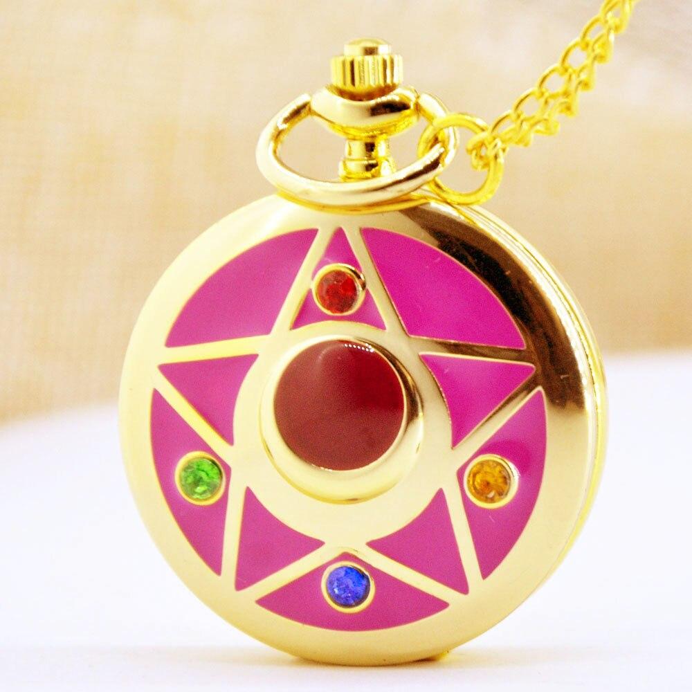 61a51ac9dee2 Reloj de bolsillo de cuarzo de moda de oro Sailor Moon abrazadera de  tarjeta Captor Sakura dibujos animados COLLAR COLGANTE analógico para mujer  relojes de ...