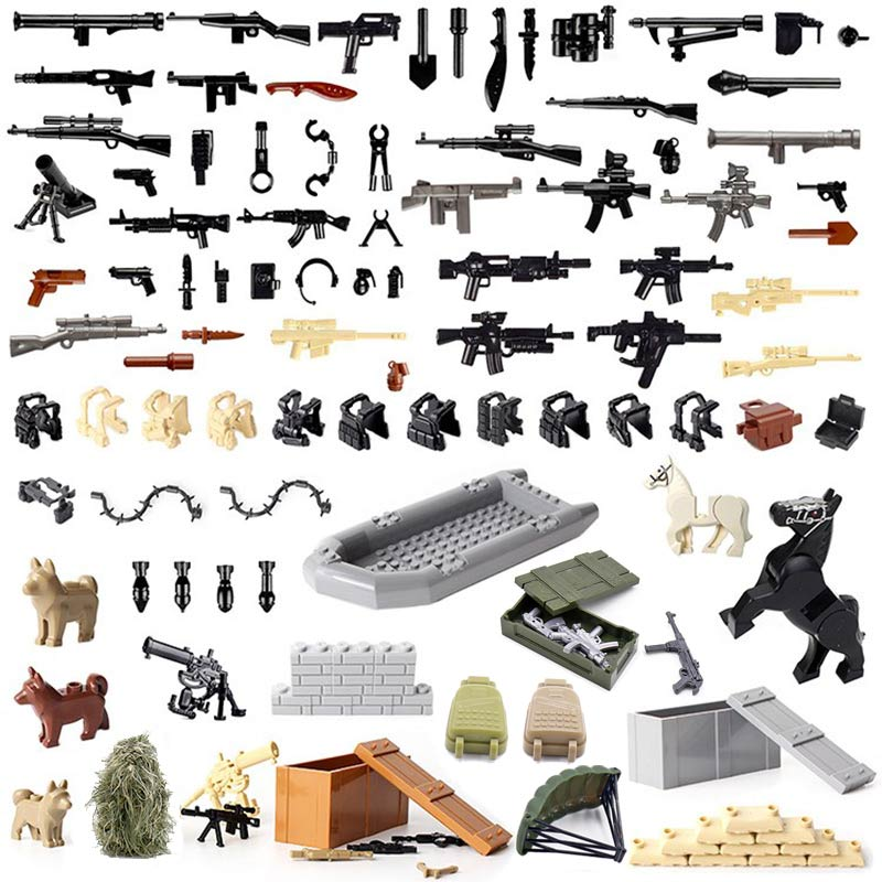 Military SWAT Police Gun 100pcs Weapons Pack Boat War Horse Soldiers Building Blocks Toys Compatible With Weapon Series Bricks