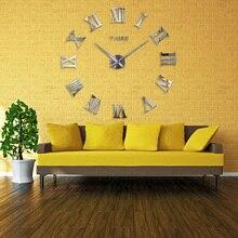 3d mirror Wall Clock Mirror Modern Design Large Wall Clocks Wall Sticker Metal Wall Decorations Living Room Home Decor 50A193 все цены