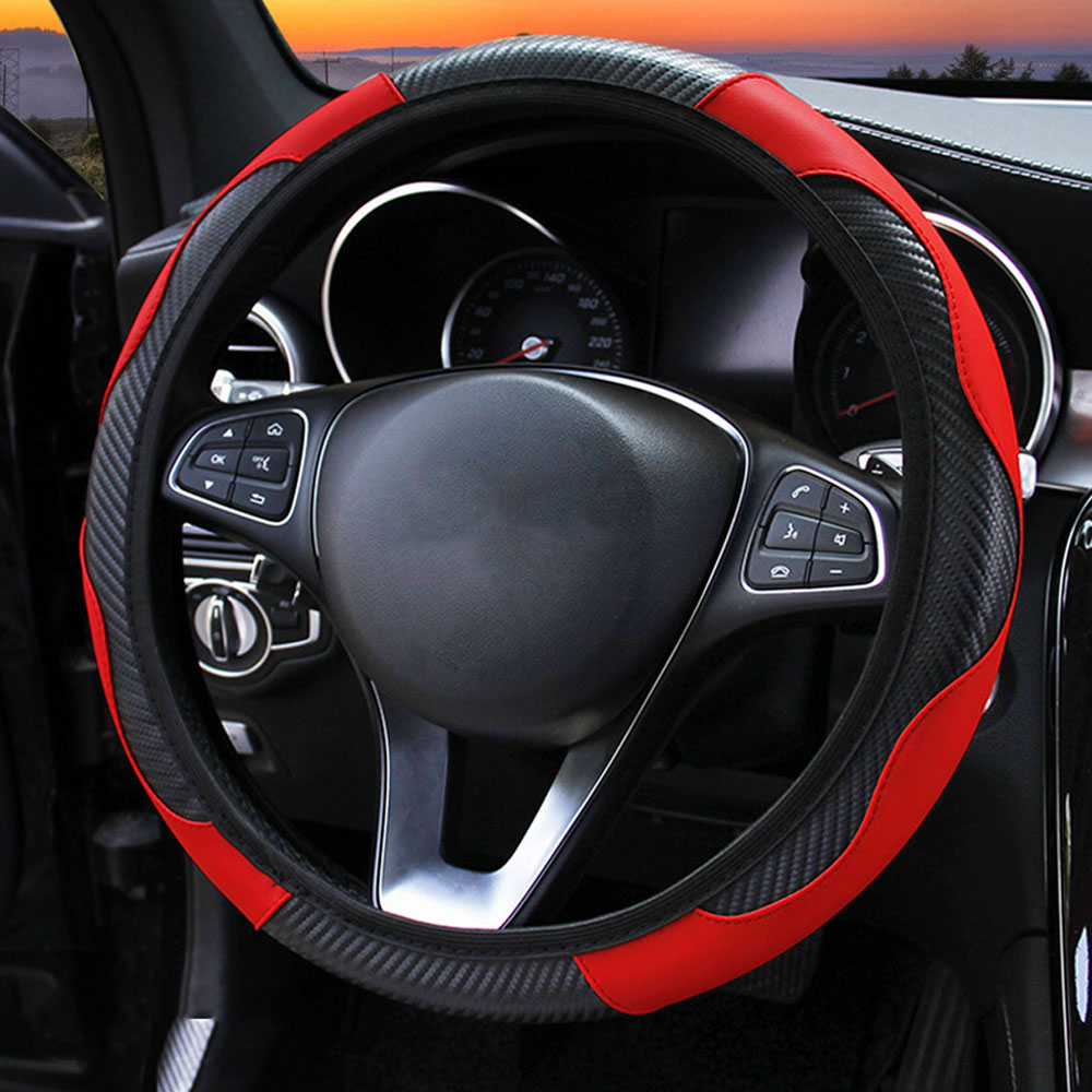 FORAUTO Car Steering Wheel Cover Breathable Anti Slip PU Leather Steering Covers Suitable 37-38cm Auto Decoration Carbon Fiber