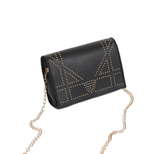 Women fashion rivet messenger single shoulder chain bag PU crossbody flap wallet bag colorblock flap chain crossbody bag