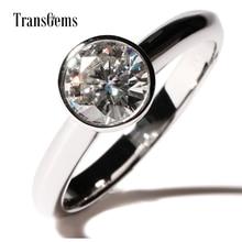 Transgems Bezel Setting Engagement Ring Center 1ct 6.5mm F color Moissanite 14K White Gold Engagement Ring for Women Jewelry