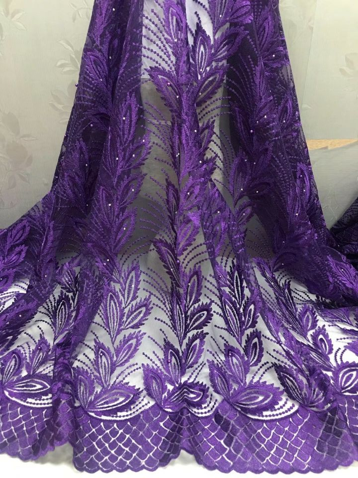 5 Yards/pc New fashion purple french net lace fabric and flower embroidery african mesh lace for dress CF12-15 Yards/pc New fashion purple french net lace fabric and flower embroidery african mesh lace for dress CF12-1