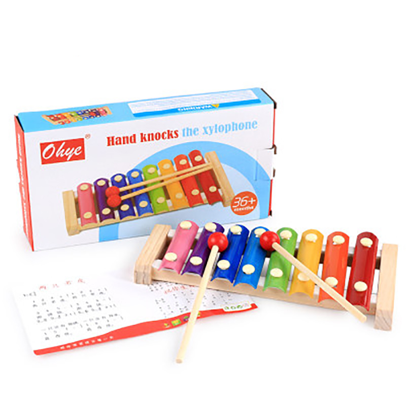 Children game toy Musical Instruments Wooden Beat Eight Bass Piano Percussion Toys Musical Early Educational Tool For Children