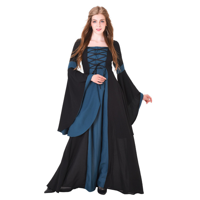 Medieval cosplay costume adult women medieval renaissance wedding medieval cosplay costume adult women medieval renaissance wedding dress gown black blue linen gothic lolita victorian junglespirit Gallery