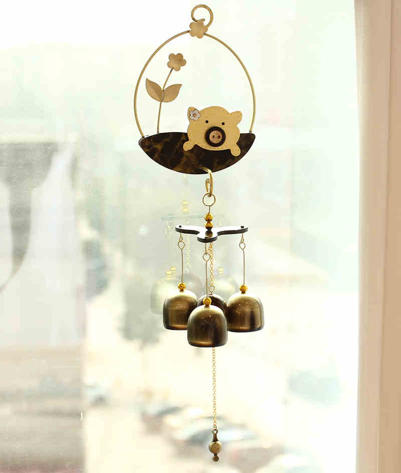 New Antique 3 Brass Windbells Lovely Animal Crafts Sound Home Furnishing Decoration Gifts Door Yard Wall Hangings Wind Chimes