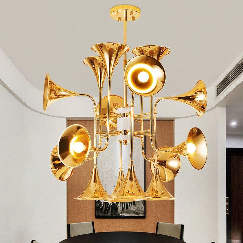 Post Moderne Industrielle Bugle Pendelleuchte Goldene