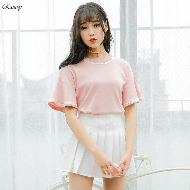 8aa39c8420ba4 funny t shirts 2019 ulzzang harajuku shirt korean off shoulder tops summer  fashion lotus leaf sleeves