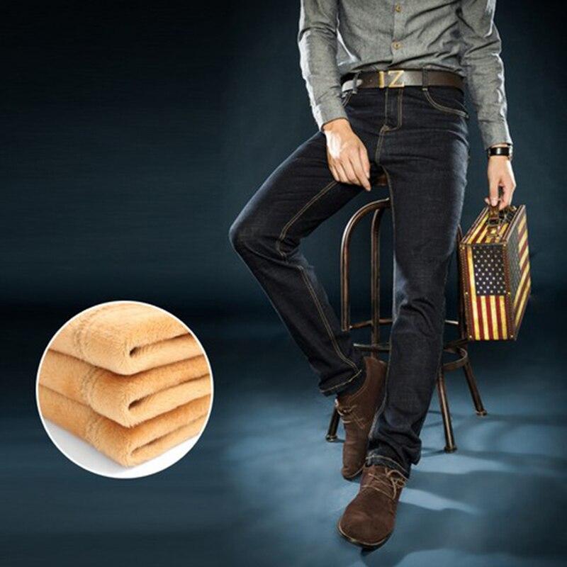 Mens winter thicken jeans warm denim elastic velvet fat guy men s straight trousers fleece inside
