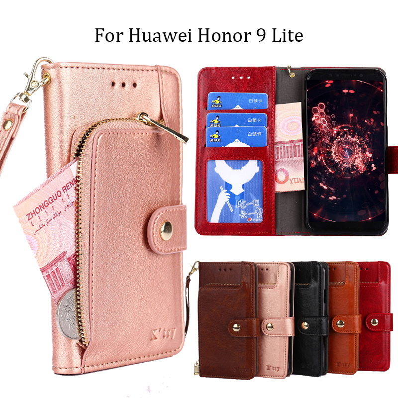 Huawei Honor 9 Lite Case K'try Luxury PU Leather Flip Wallet Case Cover On for Huawei Honor 9 Lite 9Lite Stand Coque Blue