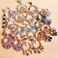 JURAN INS 2019 New Arrivals Tassel Earrings for Women Crystal Flower Drop Earrings Long Fringed Dangle Earrings Wedding Jewelry