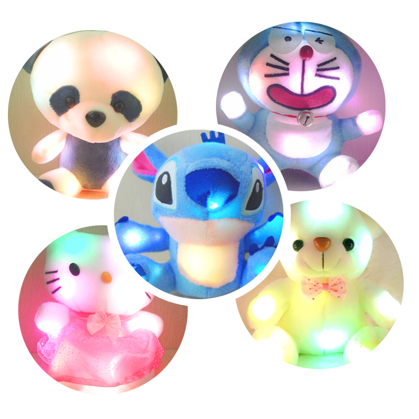 New 6 Styles Colorful Glowing Plush Toy Luminous Animal Teddy Bear Plush Doll for Girl Baby Birthday Gift Lovely Dolls for Baby large cute plush led panda teddy bear doll new year s gift colorful rainbow flash light children girl toy