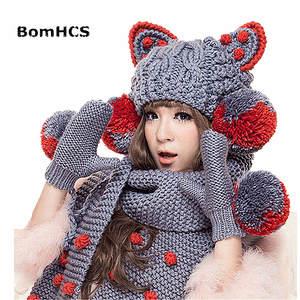 51be40f3dddbe BomHCS Scarf Beanie Big Pom Hat Warm Knit Winter Women