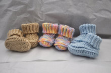 Baby Booties Boots Shoes  for Baby Boy or Baby Girl Sweet Photo Prop Aqua Soft Warm Crochet or Knit