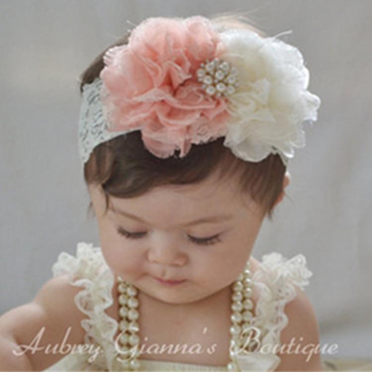 NEW* Baby Girl Headband Large Flower Rhinestone Centre Elastic Hairband Wedding