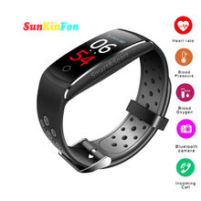 For Samsung Galaxy A9 A8 A7 A5 U18 Smart Wristband Bracelet Dynamic Heart Rate Blood Pressure Oxygen Fitness Tracker Smart Band(China)