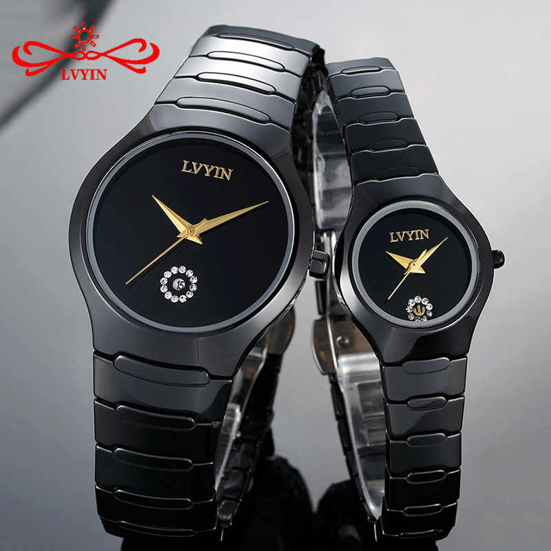 8c2f57858 LVYIN Luxury Quartz Men and Women Lover Couple Watches Full Ceramic  Waterproof Fashion Calendar Dress Wristwatches