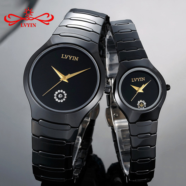 LVYIN Luxury Quartz Men and Women Lover Couple Watches Full Ceramic Waterproof F