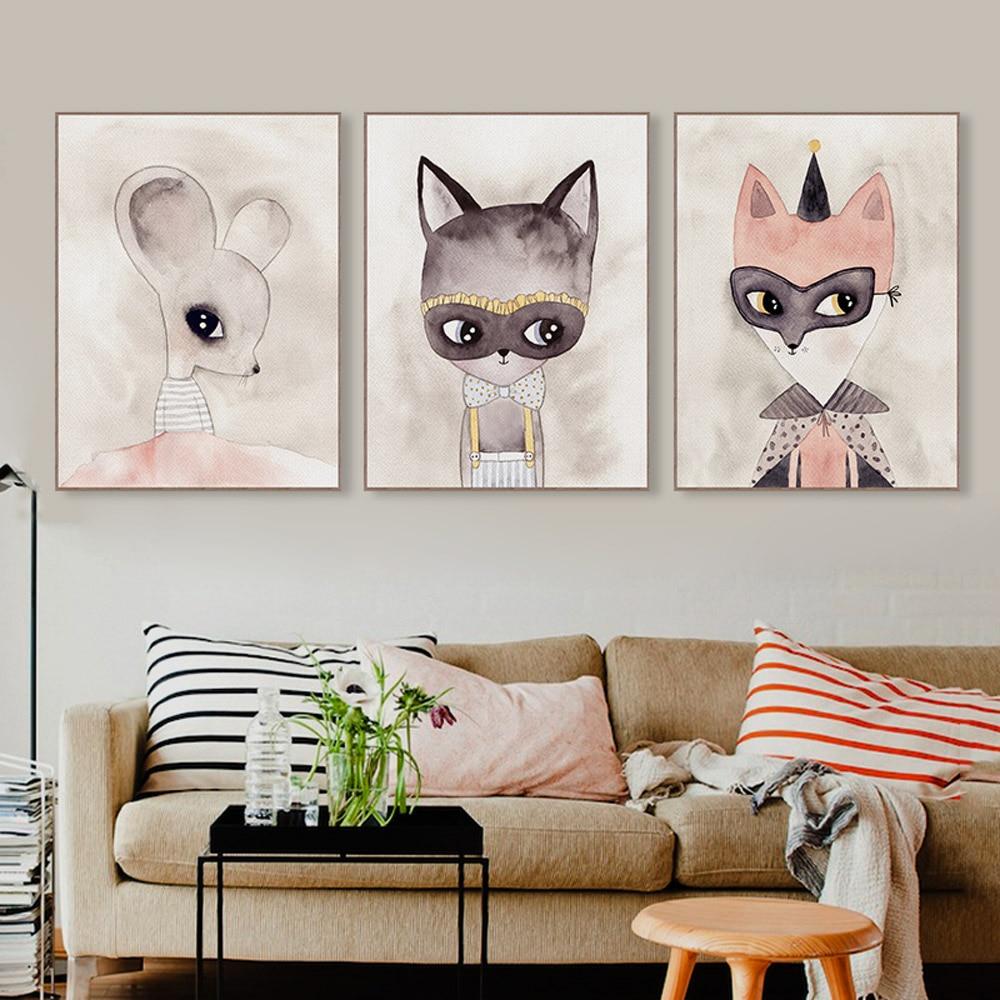 Cute Animal Wall Art Print Poster Kawaii Cat Fox Nursery