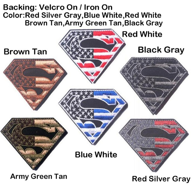 9742b94e480e Superman American Flag USA Army Military Tactical Patch Hook Backing Iron  On SWAT OPS Decorative Applique Subdued Desert Badge