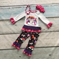 Spring Boutique Cotton Clothing Suit Kids Wear Unicorn Print Striped Rainbow Ruffles Outfits Baby Girls Matching