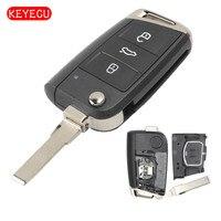 Keyecu Keyless Go Flip Remote Key Fob 434MHz ID48 Chip for Volkswagen MQB Golf VII MK7,Skoda Octavia A7 2017