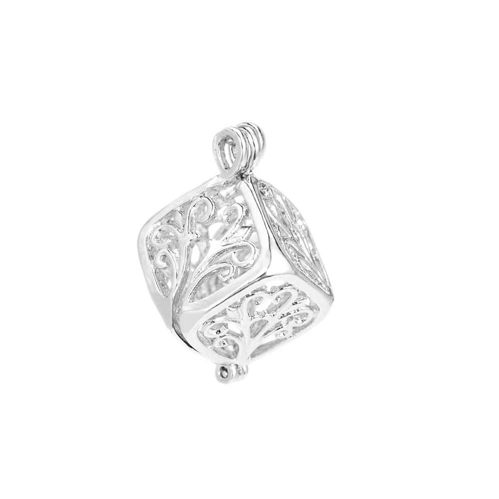 1 pc Herz Cubic Perle Käfig Medaillon Anhänger Vintage Aromatherapie Meerjungfrau Ätherisches Öl Diffusor Halskette Medaillon Für DIY Schmuck