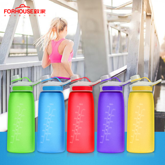 900ml Healthy Silicone Sport Water Bottle Portable Leak Proof Drinking Bottles for Outdoor Travel Cycling Running Drinkware 3