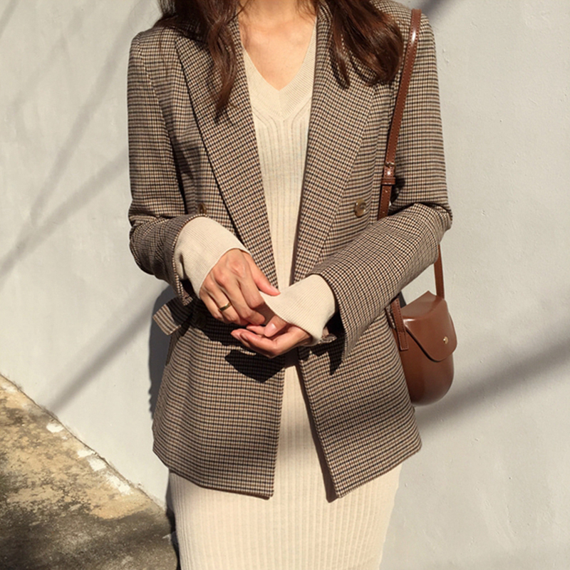 Plaid Blazer Coat Houndstooth Suit Jacket Women Long-Sleeve Office Loose Vintage Double-Breasted