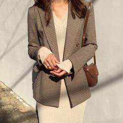 Винтаж двубортный Женские офисные клетчатый блейзер с длинным рукавом Свободные ломаную клетку костюм куртка Для женщин пиджаки Женский
