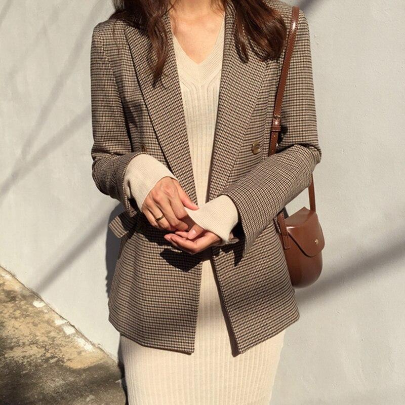 Vintage doble Breasted señoras de la Oficina a cuadros chaqueta de manga larga suelta traje de pata de gallo abrigo chaqueta mujer Chaquetas Mujer 2019
