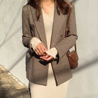 Vintage duplo breasted escritório senhoras xadrez blazer manga longa solta houndstooth terno casaco jaqueta feminina blazers feminino 2020