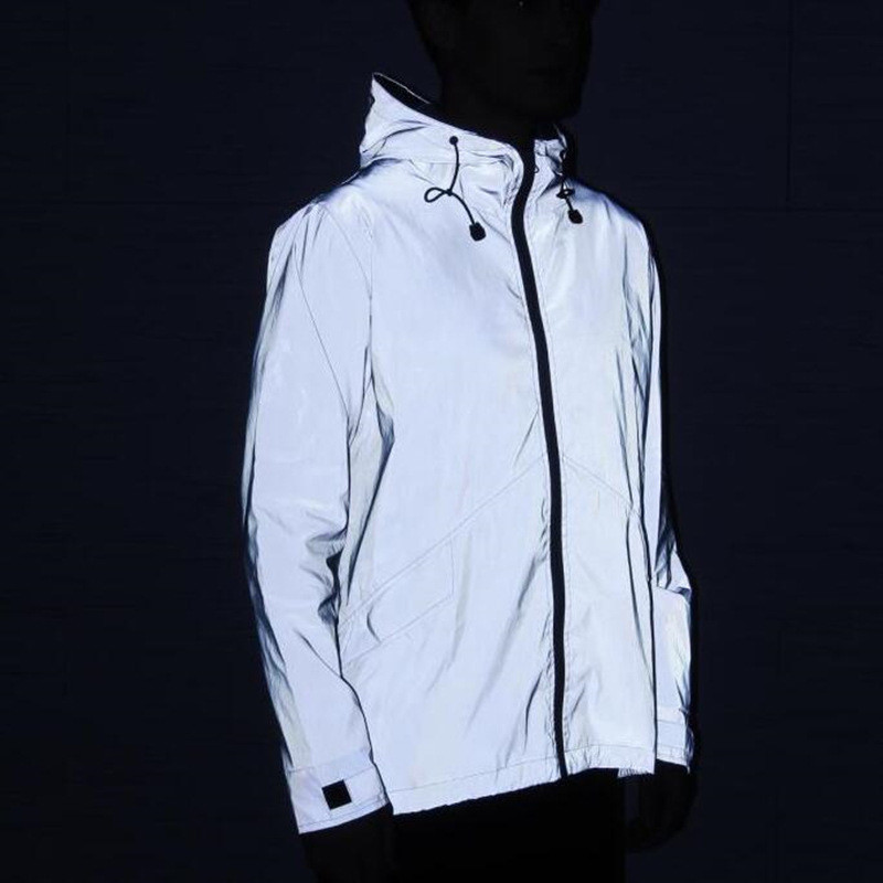 New 3M Full Reflective Jacket Men / Women Harajuku Windbreaker Jackets Hooded Hip-Hop Streetwear Night Shiny Coats 3M Jacket