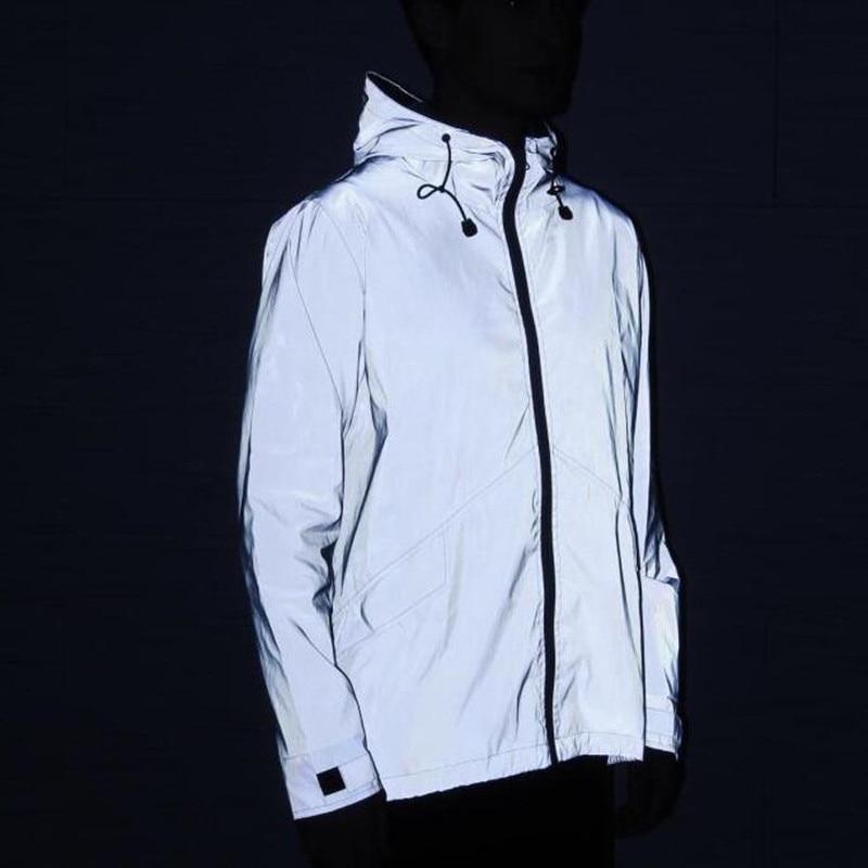 New 3M Full Reflective Jacket Men / Women Harajuku Windbreaker Jackets Hooded Hip-Hop Streetwear Night Shiny Coats 3M Jacket