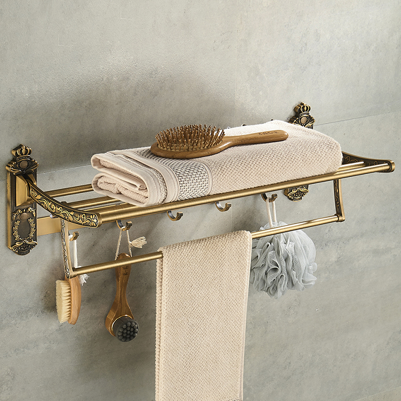Nail Free Foldable Antique Brass Bath Towel Rack Active Bathroom Towel Holder Double Towel Shelf With Hook Bathroom Accessories nail free foldable antique brass bath towel rack active bathroom towel holder double towel shelf with hooks bathroom accessories