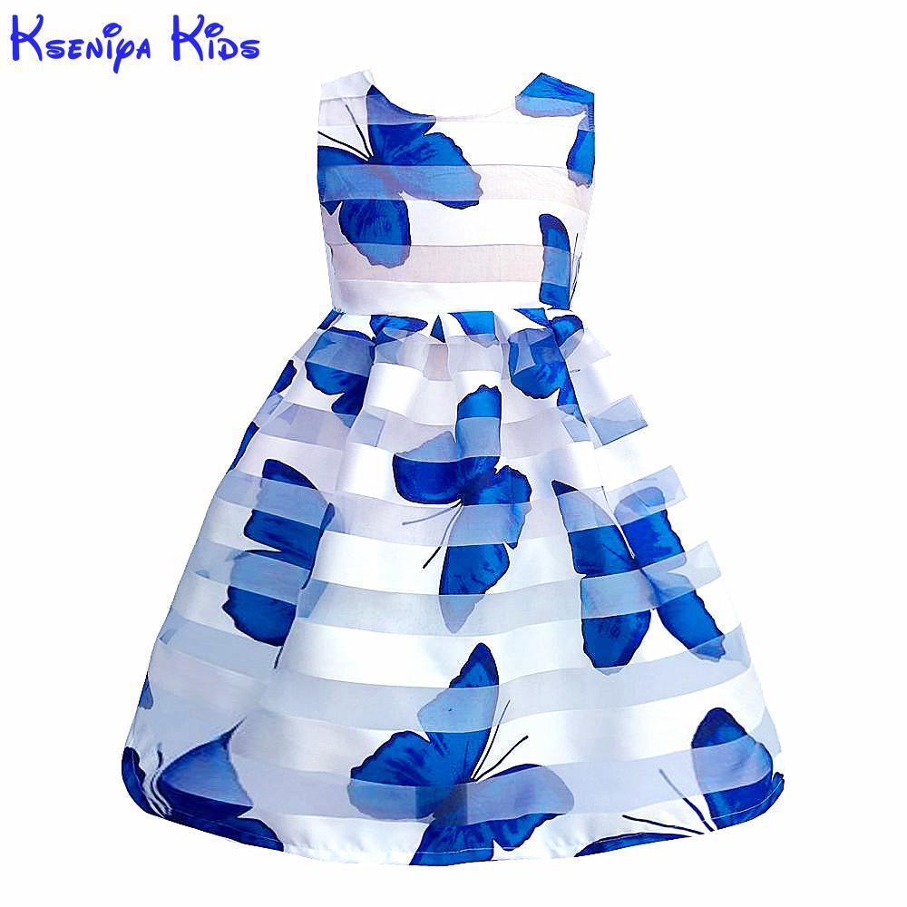 Kseniya Kids Summer Girls Butterfly Print Lace Dress Baby Girl Clothes Kids Dresses For Girls Children Girls Birthday Soft Wear kseniya kids new summer children baby