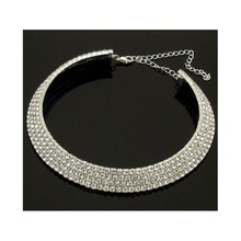 wholesale Woman's jewelry 4 Row Clear Diamante Crystal Choker Necklace - Bridal Wedding Prom Evening for silver jewelry