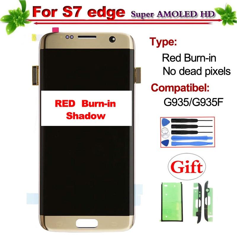 Super Amoled para Samsung Galaxy S7 borde G935 G935F G935D G935P G935A pantalla Lcd de pantalla táctil digitalizador Asamblea rojo quemar -En