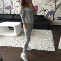 Autumn Women Clothing Set Casual Women Tracksuit Sportswear Slash Neck Tops& Pants