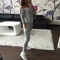 Outono Mulheres Roupas Casuais Definir Mulheres Sportswear Agasalho de Slash Neck Tops & Calças